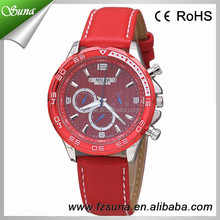 New Design Red/White/Black Colors Big Dial Leather Vogue Watch
