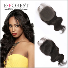 7A Brazilian Lace Closure Bleached Knots Body Wave Free & Middle & 3 Part Lace Closure Natural Black Color With Baby Hair
