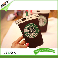 2015 new arrival cute cartoon 3d printed coffee cup mobile phone case for iphone 6 6s 6plus, for iphone silicon case