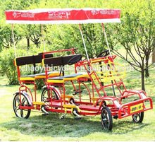 2015 china wholesale leisure pedal 4 wheel Tandem bicycle four seats for sale