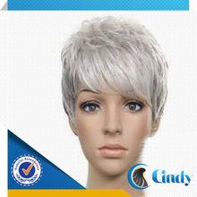 Short straightly Brazilian gray human hair wigs for black women