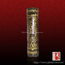 Luxury gold plated ceramic cylinder vase large size ceramic vase