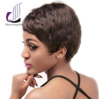 Hot selling rihanna style short human hair wig for black women, stylish artificial wig, wholesale aliexpress human hair wigs