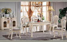 #686 elegant glossy white gold leaf solid wood 1.6m 6 chairs dining table neoclassic dining room furniture set buffet cabinet