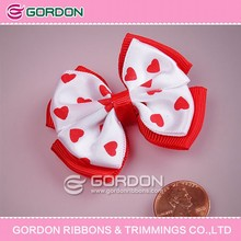 baby hair bow /heart printing hair clip for pink girl