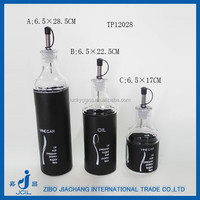 cooking oil glass container with black stainless steel coating