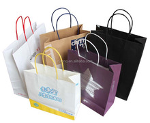 2015 factory directly custom gift paper bag for clothing with ribbon string