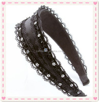 new designer black wide women lace polyester white flowr hairband stretch sequin headbands wholesale