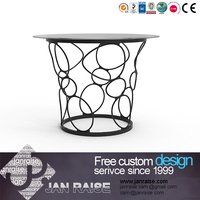 8mm glass top metal base round dining table