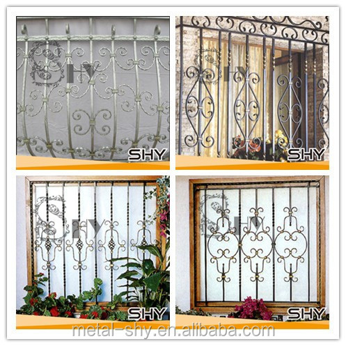Decorative wrought iron window security bars design buy for Window bars design
