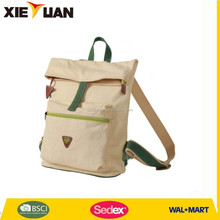2015 new designed fashional cotton canvas backpack bag
