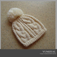 Fashionable Crocheted hat for woman with tassel/pom pom woman beanie hat