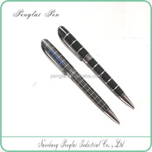 2015 Factory price aluminum black and white grid metal ball pen