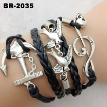 Fashion accessories for women woven multilayer leather bracelet