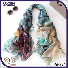 New spring summer scarves peacock feather printed female long silk scarves wholesale cheap scarves