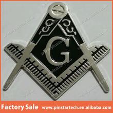 Wholesale Custom Freemason Masonic cut-out car emblem in silver solid Black Item Metal Lapel Pin Badge