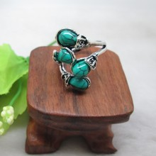 Sterling Silver Tone Turquoise Stone Metal Ring Fashion Finger India Jewelry Stone Ring Designs for Men