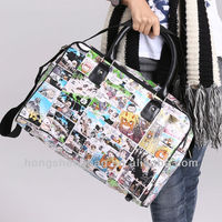 Korea cartoon pattern canvas tote with leather handle TH1204