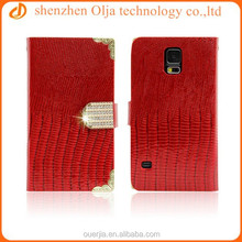Olja luxurious LIZARD rhinestone flip pu leather wallet book case for samsung galaxy s5