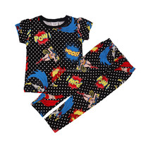 18m-6Y (TZ16001#BLACK)Cool New summer all over printed cartoon knit set baby girl pajama 2pc set
