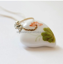 Hand-painted heart charm ceramic necklace custom paint heart necklace jewelry