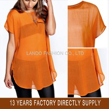 High Quality Cheapest Plain Short Sleeve Sexy See-through Chiffon Tops Chiffon Blouse Women Plus Size Clothing