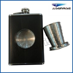 8oz stainless steel shot flask with collapsible shot glass