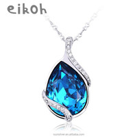 OUXI glitter blue crystal fashion silver plated drop necklace 10276/10277