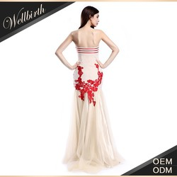 Elegant semi-sweetheart long sexy embroidered cocktail dress bridal gown