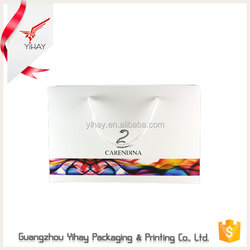 Low price promotional glossy lamination water resistant white advertising paper bag with logo printed