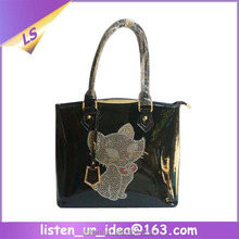 2015 New products black leather handbag with cat design