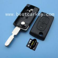 Top quality 2 buttons flip key case for 406 blade and battery holder peugeot key shell key peugeot 406