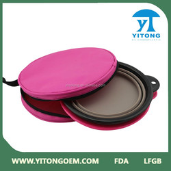 China Yitong hot sell collapsible pet bowl feeder set and collapsible silicone dog bowl