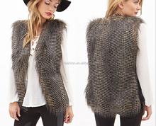 top quality warm winter natural fur vest ladies faux ostrich fur vest