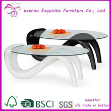 modern new design glass coffee table S shape coffee table