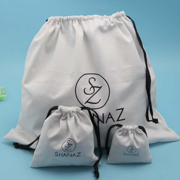 White Natural eco Cotton Fabric Candy Bag With Cotton Drawstring Cord
