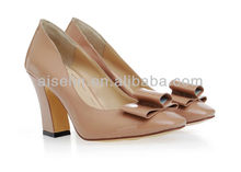 2013 large size low heel women pump shoe bow patent leather