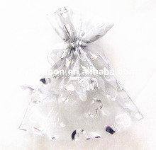 Silver Printing material high quality organza xmas gift bag/wedding candy bags