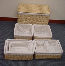 nature color &functional Set of 9 split willow trunk & baskets (with 200g cream color cotton liner)