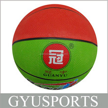 GY-D012 HOT SALE Rubber cheap color balls basketball for Kids