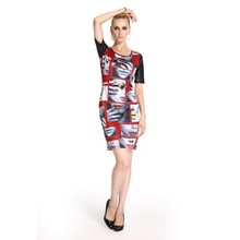Pu Leather Sleeves Digital Printing Women Red Party Dress