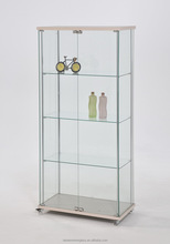 Glass display cabinet with wheels