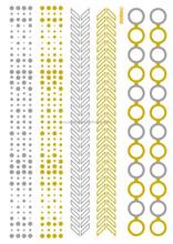 Waterproof Metallic Gold Silver Dot Circle bracelet Design tattoo stickers