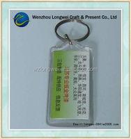 custom key ring plastic card holder/clear acrylic photo keychain