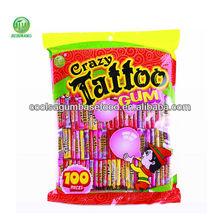 coolsa sabores de la fruta del tatuaje gomademascar de la burbuja en bolsa de embalaje
