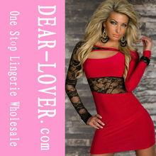 venta al por mayor baratos de manga larga de color rojo de mujer sexy vestido de profesional