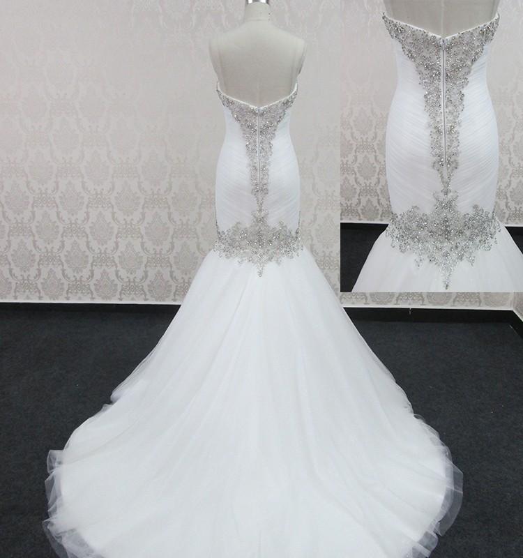 2016 Branco Elegante Sereia Vestidos de Noiva de Bling