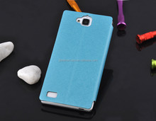 Pure white pu leather case phone cover folio pc case for huawei Royal 3C