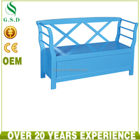 wholesale new design rustic living room blue wooden storage bench , entryway furniture