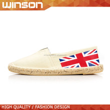 china wholesale beige flat rope sole canvas sneaker for women